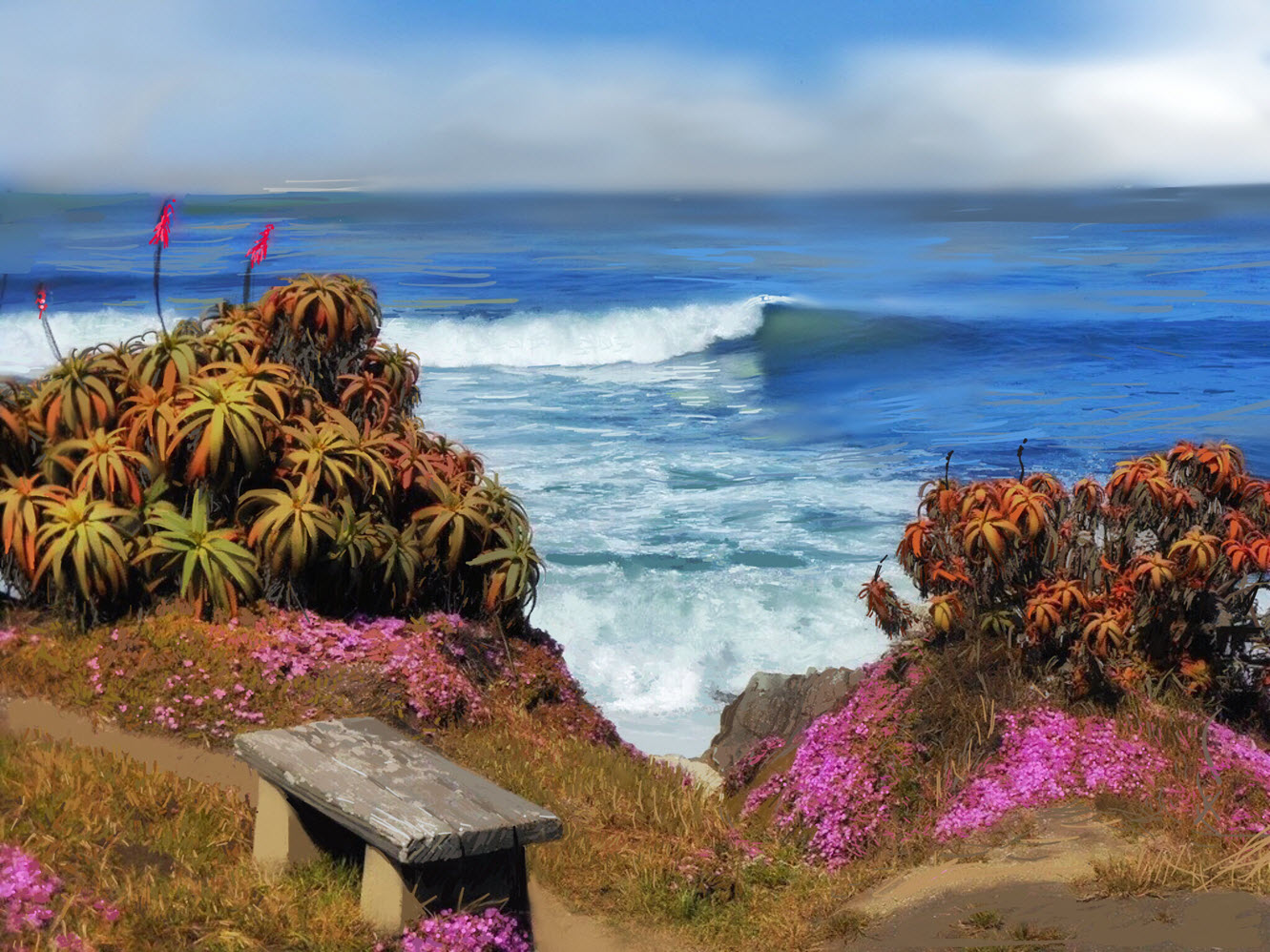 Pacific Grove Aloes and Ice Plants in Monterey, CA