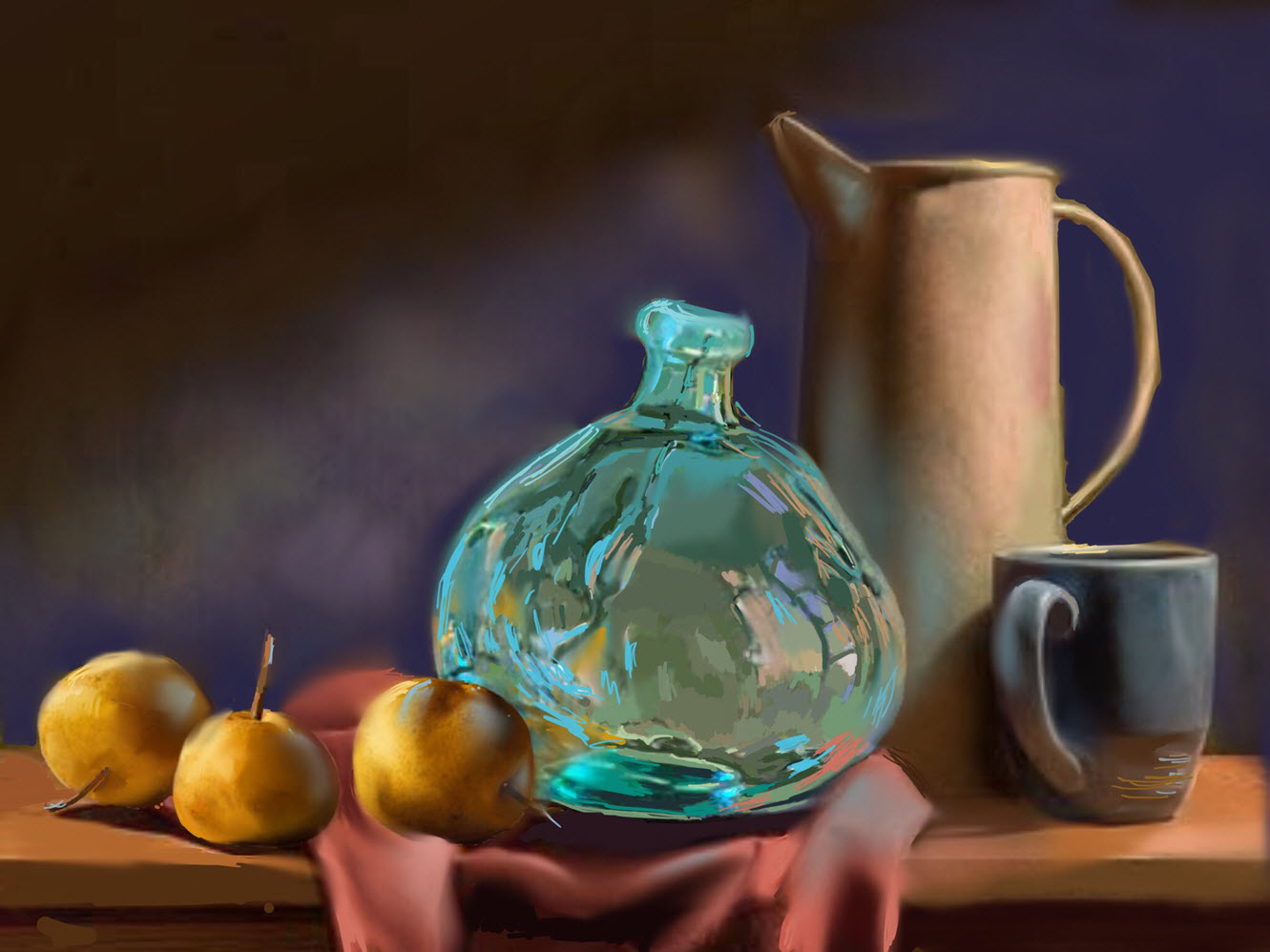 Still Life with Blue Art Glass