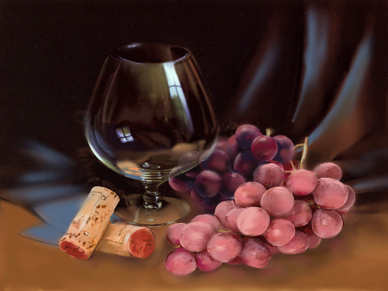 Still life with wine glass and grapes