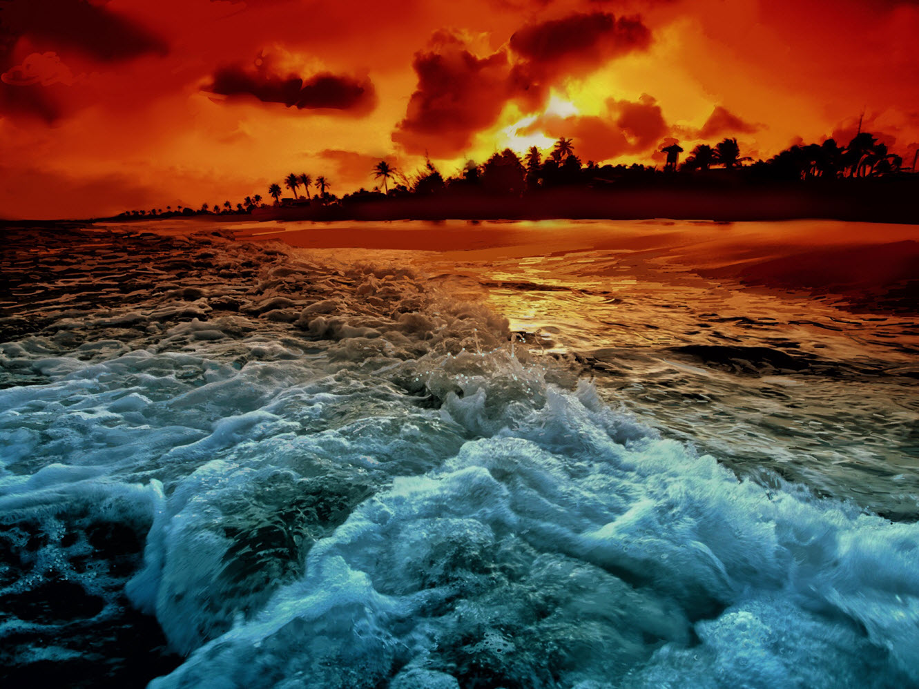 Tropical Surf Sunset